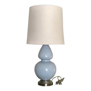 Mid-Century Style Gourd Shape Aqua Blue Glass Table Lamp & Shade