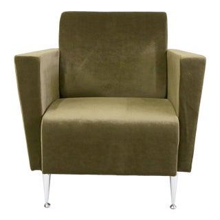 Memphis Design Era Italian Green Velvet Arm Chair