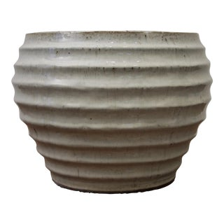 Large Wabi Sabi Glazed Pottery Modernist Planter