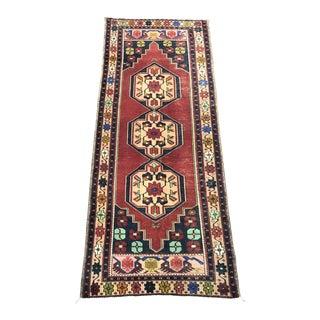 Vintage Geometric Design Turkish Handmade Red and Blue Runner Rug For Sale