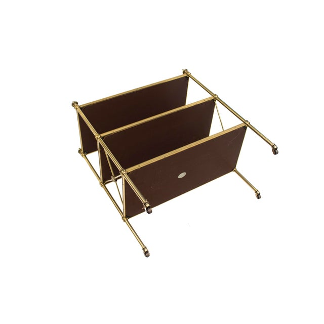 1960s Petite Leather-Lined Brass Etagere or Bookshelf by Baker For Sale - Image 5 of 10