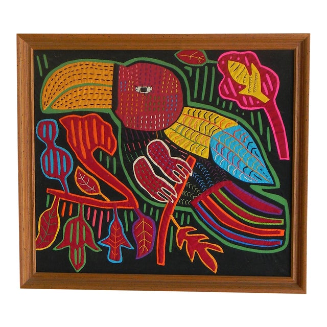 Mid-Century Framed Kuna Mola Textile Art For Sale