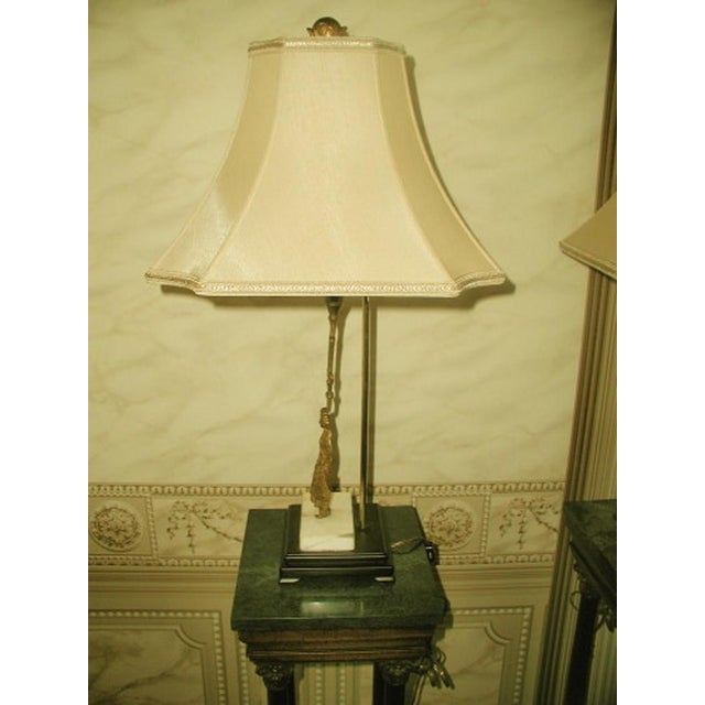 French 1900's French Bronze/Marble Girandole Lamps - Pair For Sale - Image 3 of 7