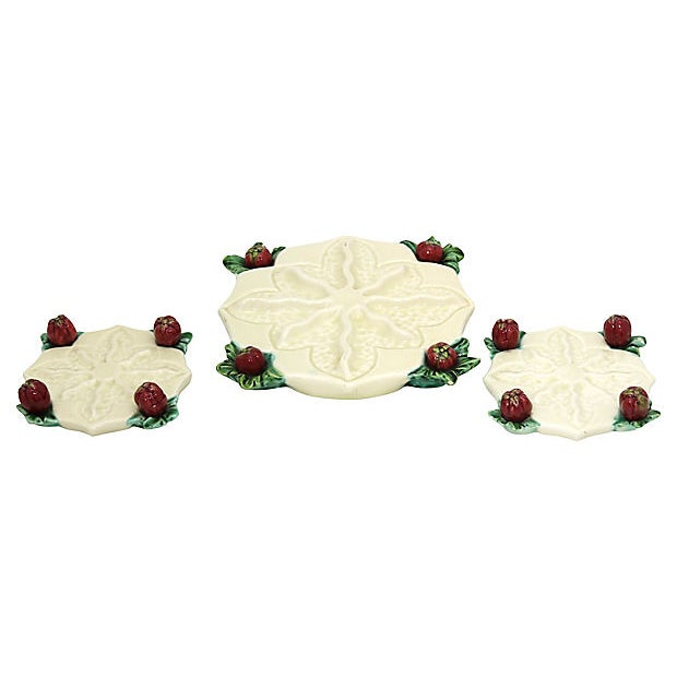 Shabby Chic Vintage French Majolica Table Adornments, 13 Piece For Sale - Image 3 of 5