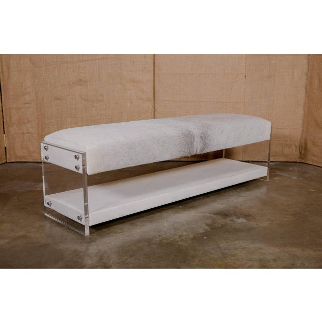 Contemporary Modern Yves Lucite Benches For Sale - Image 3 of 10