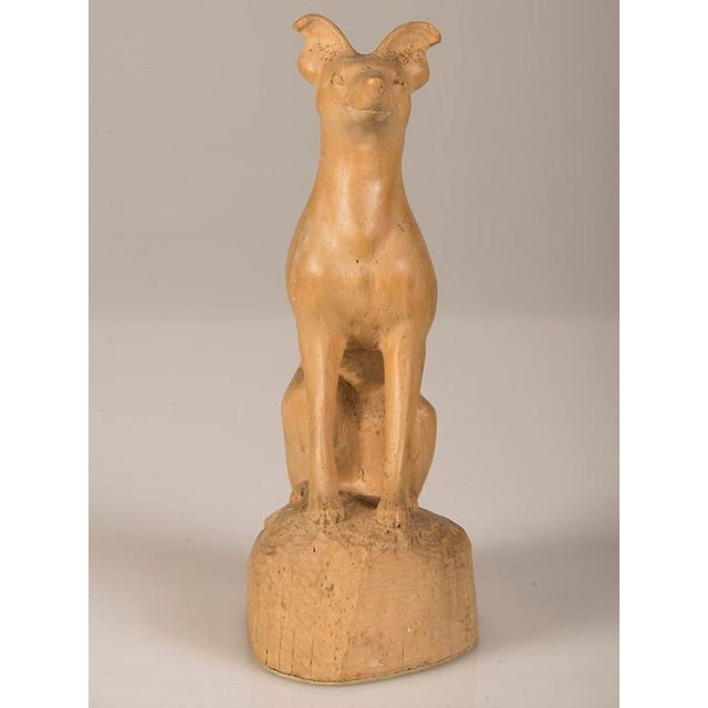 19th Century English Hand Made Carved Wood Dog Sculpture For Sale - Image 4 of 6