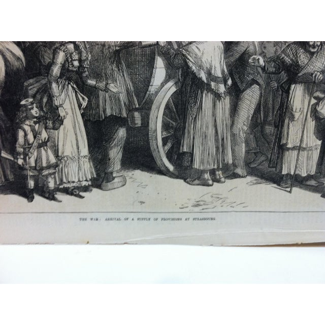 """Antique 1870s """"The War - Arrival of a Supply of Provisions at Strasbourg"""" Print For Sale - Image 4 of 6"""