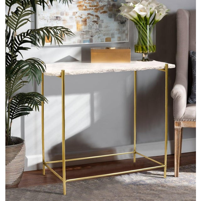 Metal Pasargad Home Vasto Marble & Stainless Steel Console For Sale - Image 7 of 8