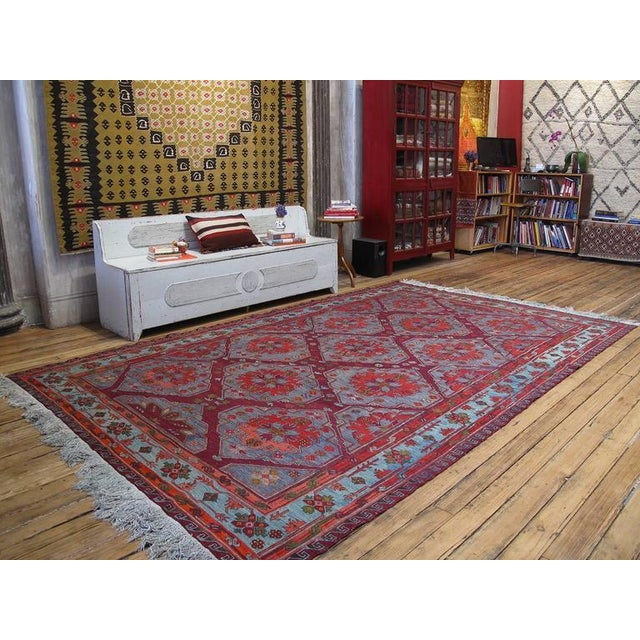 """A very handsome old tribal flat-weave from Azerbaijan, woven in the intricate """"Sumak"""" brocading technique. Combining a..."""
