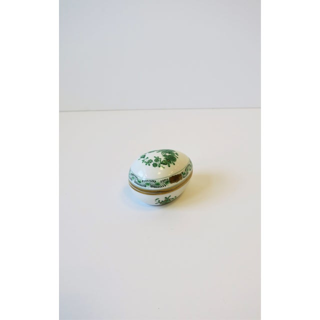 Metal Herend White Green Gold Porcelain Egg-Shaped Jewelry Box For Sale - Image 7 of 13