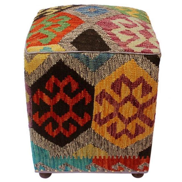 Arshs Curt Black/Ivory Kilim Upholstered Handmade Ottoman For Sale - Image 4 of 8