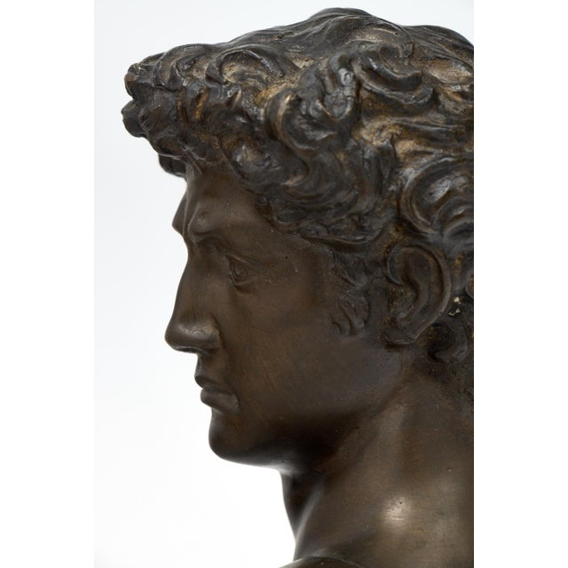 French Antique Bust of David after Michelangelo For Sale - Image 5 of 11