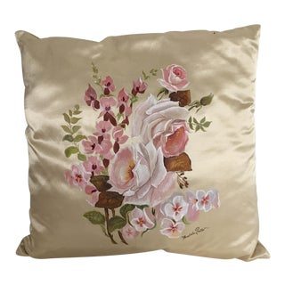 Hand Painted Silk Floral Pillow For Sale