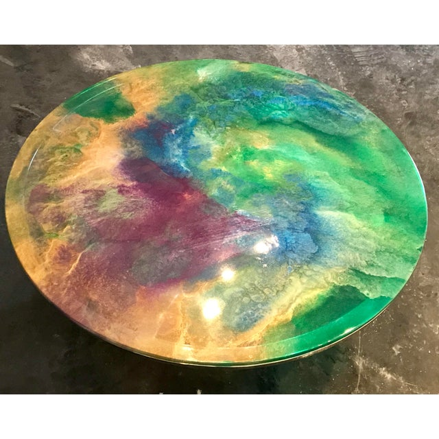 Designer Hand Painted Epoxy Resin on Glass Chrome Accent Table For Sale - Image 4 of 6