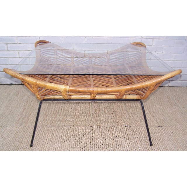 1960s Rattan, Iron & Glass Coffee Table - Image 5 of 10