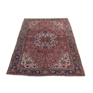 "Antique Persian Heriz Wool Rug - 7'10""x11'4"""