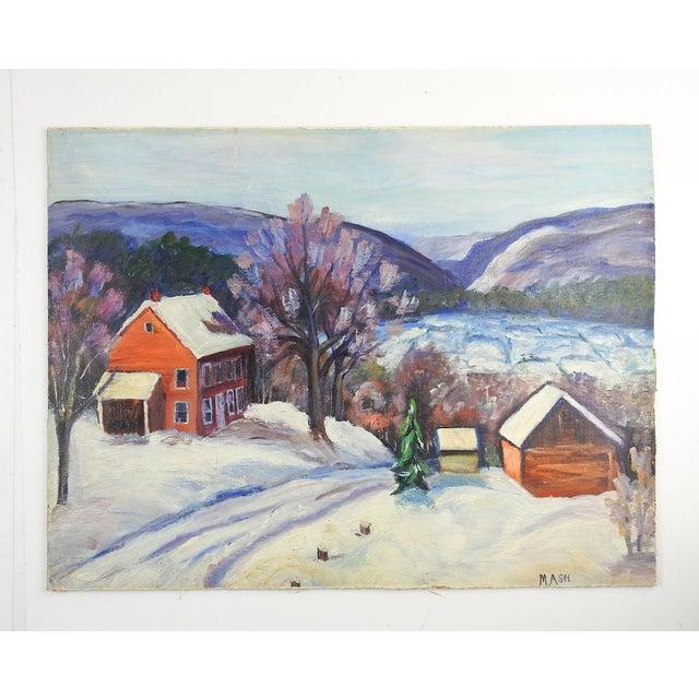 Oil on canvas board of farm scene in winter. Signed M. Ash lower right corner. Unframed, edge wear.