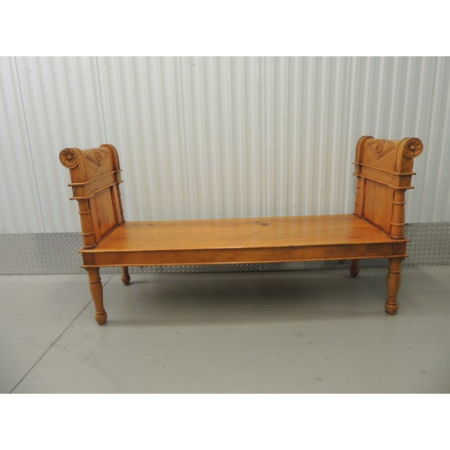 Antique Pine Carved Wood Bench With Velvet Cushion - Image 3 of 5