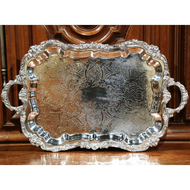 Engraving Early 20th Century French Silver Plated Tray With Ornate Scrolls and Engravings For Sale - Image 7 of 9