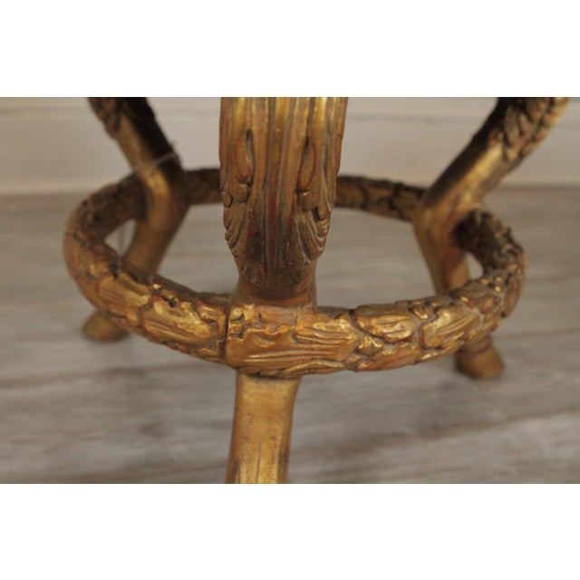 Traditional Late 20th Century Vintage Charles X Style Gilt Wood Stool Bench For Sale - Image 3 of 8