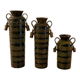 Indian Brass and Black Vases - Set of 3 For Sale
