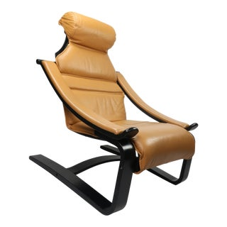 Scanform Cantilevered Leather Lounge Chair For Sale