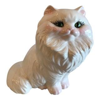 Mid-Century White Persian Cat Figurine