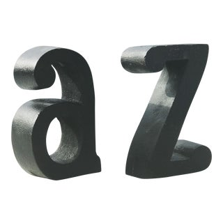 1970s Pop Art A to Z Cast Iron Bookends - Set of 2 For Sale