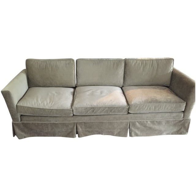 Mid-Century Reupholstered Taupe Sofa - Image 1 of 6