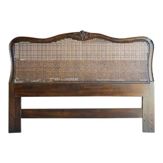 1980s French Provincial Inspired Cane Queen Headboard For Sale