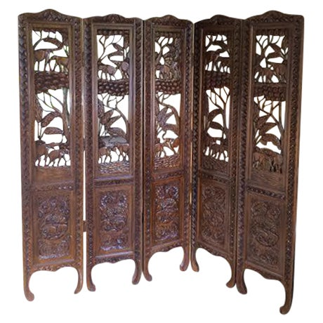 5 Panel Engraved Wood Screen From Indonesia - Image 1 of 6