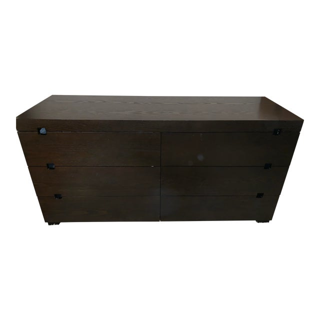 West Elm Chocolate Square Cutout 6 Drawer Dresser For Sale