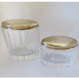 Cut Crystal & Silver Lidded Jars, Set of 2 Preview
