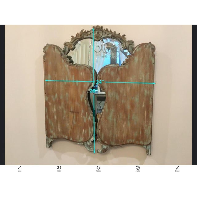 Antique Wood Carved Triptych Mirror For Sale In Los Angeles - Image 6 of 11