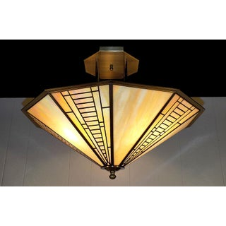 Vintage Fredrick Ramond Mission Style Stained Glass Light Fixture Preview