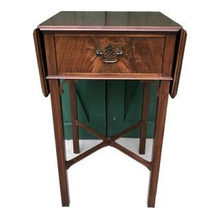 Imperial Walnut One Drawer Drop Leaf End Table For Sale