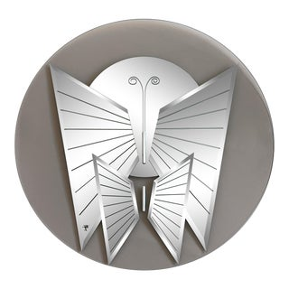 1970s Round Butterfly Mirror by Jon Gilmore For Sale