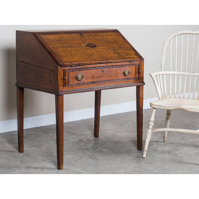 Antique English George III Period Oak Slant Front Desk circa 1760 For Sale - Image 4 of 10
