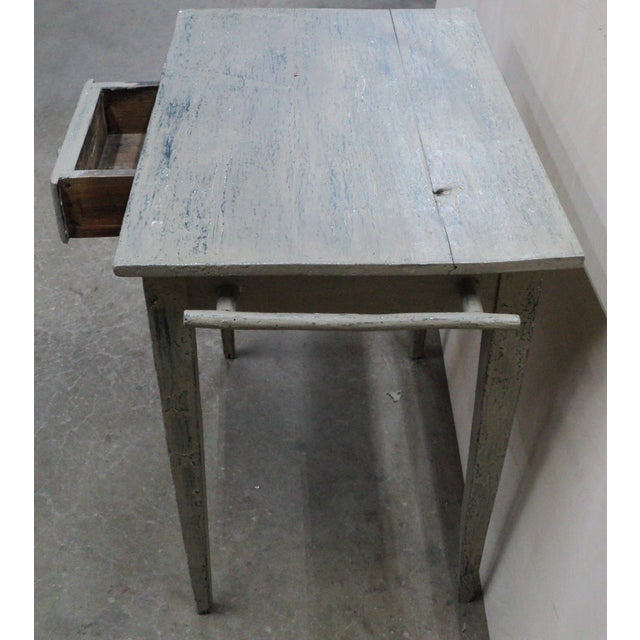 Blue 19th Century French Country Work Table in Old Paint For Sale - Image 8 of 10