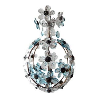 French Aqua Blue Flower Ball Crystal Prisms Maison Baguès Style Chandelier For Sale