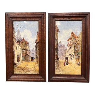 Pair of 19th Century English Minton Framed Painted Ceramic Wall Plaques For Sale