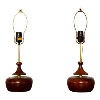Solid Walnut Pair of Table Lamps Nakashima Simple Style Mid Century 1950s Usa For Sale