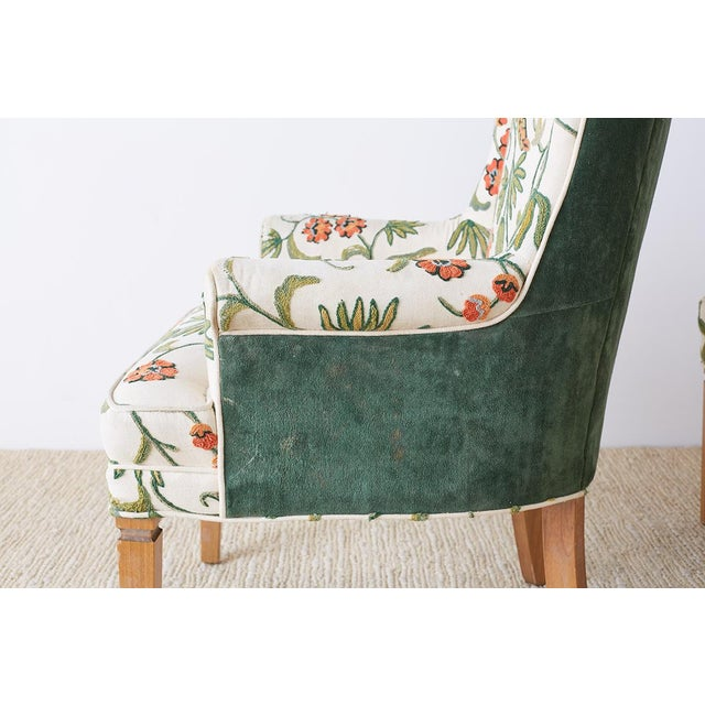 Pair of English Style Crewel Work Wing Chairs For Sale In San Francisco - Image 6 of 13