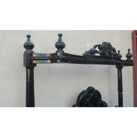 French Louis XV Black Canopy Queen Bed - Image 3 of 4