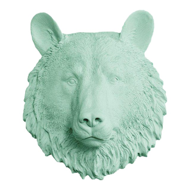 Wall Charmers Faux Mint Green Mini Bear Head Wall Sculpture - Image 1 of 3