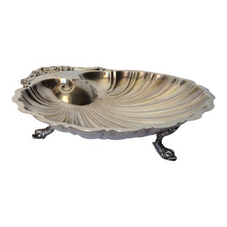 Silverplate Dolphin Footed Fan Shell Platter For Sale