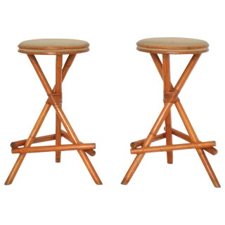 Pair of Midcentury Bamboo Barstools For Sale