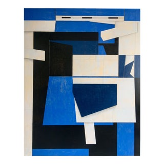 "Abstract Blue & Black Painting on Canvas ""PDP929ct17"" by Cecil Touchon For Sale"