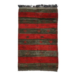 Vintage Berber Moroccan Rug with Tribal Motifs and Stripes