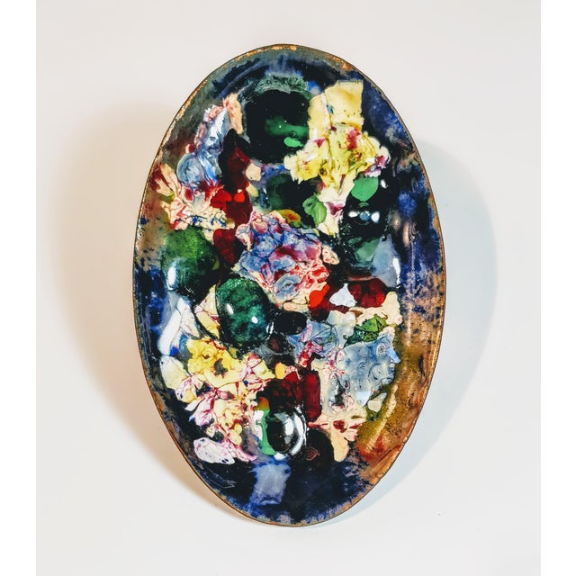 Mid 20th Century Vintage Mid Century Abstract Art Decorative Enamel Tray Dish For Sale - Image 5 of 8